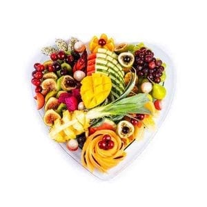 עינוגי פירות באהבה (מגש בצורת לב)